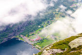 View of Lysefjord and Lysebotn from mountain — Stock Photo