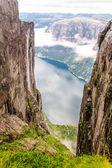 View of Lysefjord from mountain Kjerag — Stock Photo