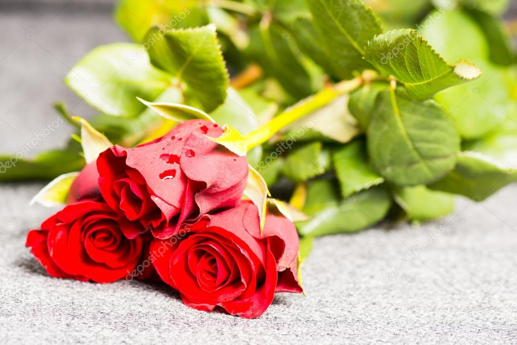 Three red roses on a cloth — Stock Photo #12574541