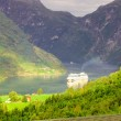 Cruise ship in Geiranger fjord — Stock Photo #12642474