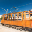 Classic wood tram train of Puerto de Soller — Stock Photo