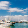 Marina with yachts and boats — Stock Photo