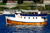 Boat with Akershus Fortress Oslo Norway — Stock Photo