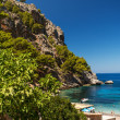 Exotic blue sea lagoon at Mallorca Spain - Stock Photo