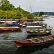 图库照片: Group of colorful wooden boats