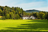 Alone farmhouse on a meadow in forrest — Stock Photo