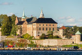 View on Oslo Fjord harbor and Akershus Fortress, Oslo, Norway — Stock Photo