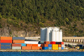 View on container port and silo storage in Oslo — 图库照片