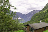 Cabin with Geiranger Fjord on background Norway — Stock Photo