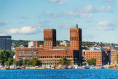 View of Oslo, Norway Radhuset from the sea — Stock Photo