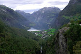 Scenic view of Geiranger Fjord Norway — Stock Photo