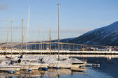 Marina in Tromso in winter — Foto de Stock