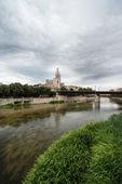 River bridge cathedral Girona — Stock Photo