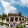 Foto Stock: Park Guell filled with tourists
