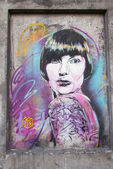 C215 street painting in Oslo woman — Stock Photo