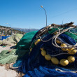 Stock Photo: Fishing nets on pier close up