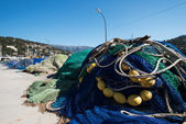 Fishing nets on a pier close up — Stock Photo