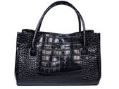 Lady handbag in black color made of crocodile leather — Stock Photo