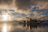 Waterfront buildings at sunset at Tromso Norway — Stock Photo