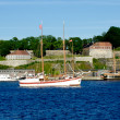 Stock Photo: White Boat with Akershus Fortress on background
