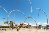 Arc metal sculpture in Barcelona Spain — Stock Photo