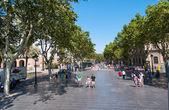 Pedestrian street in Barcelona Spain — Stock Photo
