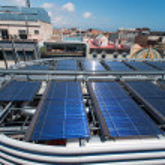 Solar water heater on roof — Stock Photo