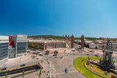 Montjuic fountain on Plaza de Espana — Stock Photo