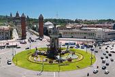 Montjuic fountain on Plaza de Espana in Barcelona — Stock Photo