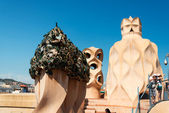 Chimney at Casa Mila Roof Barcelona Spain — Stock fotografie
