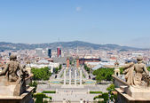Montjuic fountain on Plaza de Espana in Barcelona Spain — Stock Photo