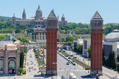 Venetian Towers lead the way to the MNAC Barcelona Spain — Stock Photo