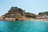 Tossa de Mar beach and fortress at Catalonia Spain — Stock Photo