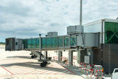 Modern glass airport ramp overcast — Stock Photo