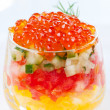 Red caviar salad in glass — Stock Photo