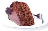 Bolo de chokolate com garfo — Fotografia Stock