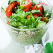 Vegetable salad  in a green bowl — Stock Photo