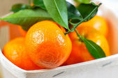 Satsuma on wooden box — Stock Photo