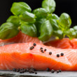 Fresh salmon fillet on rock - Stock Photo