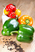 Peppers on table — Stock Photo