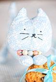 Twarz kota zabawki domowe i cookie — Zdjęcie stockowe