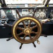 Steering wheel on boat — Stock Photo
