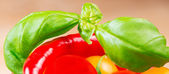 Basil leafs with cherry tomatoes and chili pepper close up — Stock Photo