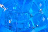 Blue glass beads background close up — Stock Photo