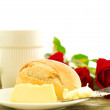 Romantic breakfast with flowers — Stock Photo