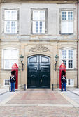 Danish Royal Life Guard posted at Amalienborg Palace in Copenhag — Stock Photo