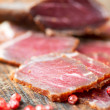 Stock Photo: Slices of cured meet macro