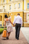 Couple walking away — Stock Photo