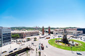 Espanya Square in Barcelona and National Palace — Stock Photo