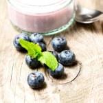 Blueberries and desert — Stock Photo